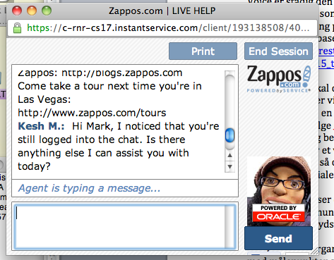 Zappos customer service