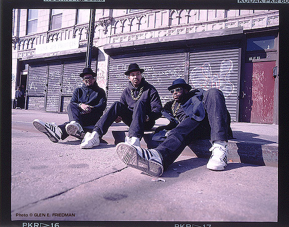 RUN DMC - unlaced Adidas and all (photo used with kind permission by Glen E. Friedman - burningflags.com)